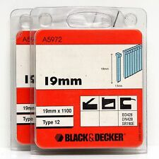 Black & Decker type 12 ongles 19mm bd428 dn428 sr190e, fixfest powerfix (2 boîtes)