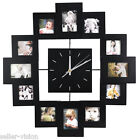 12 Picture Multi Photo Frame Display Wall Clock Time Family Album Black Modern