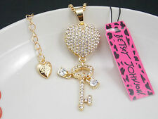 Betsey Johnson Cute fashion inlay Crystal Heart Key Pendant Necklace # F182