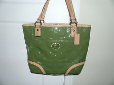 COACH Peyton Embossed Signature Patent F22322 Green and Tan Tote Bag Purse