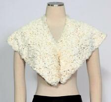S.L. Fashions SLNY White Gold One Size Sequin Stole Faux Fur Knobs Bolero Cape*