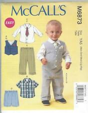 McCALL'S SEWING PATTERN  INFANTS WAISTCOAT SHIRTS SHORTS PANTS TIE NBN-XIG M6873