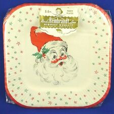 "NIP Vintage Rembrant Santa Claus Christmas Paper Party Plates 8ct 8"" Mid Century"