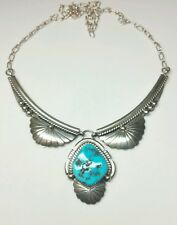 J4687 STUNNING NAVAJO *ARCHIE MARTINEZ* STERLING SILVER TURQUOISE NECKLACE