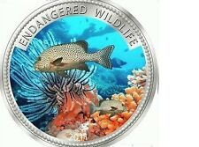 2011 Palau Large Color Proof $1 Tropical White/Black Fish/Mermaid/Neptune
