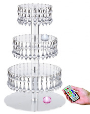 Acrylic Cupcake Tower Stand with Hanging Crystal Bead-wedding Party Cake Tower (