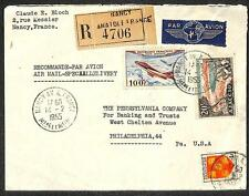 NANCY FRANCE SCOTT C29 AIRMAIL STAMP ETIQUETTE REGISTERED COVER TO USA 1955