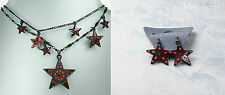 PILGRIM Multi Strand Necklace & Earrings STAR Charm Black Red Swarovski BNWT