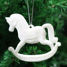 Pack of 3 Glitter Rocking Horse Christmas Tree Hanging Pendant Decorations