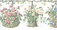 DIE-CUT PINK & YELLOW FLOWERS IN BASKETS WHITE BACKROUND Wallpaper bordeR Wall