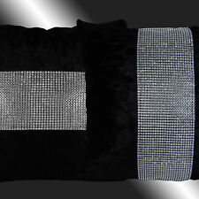 2X SHINNY BLING SILVER BLACK THICK VELVET THROW PILLOW CASES CUSHION COVERS 17""