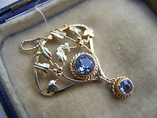 ANTIQUE ART NOUVEAU 18CT NOT 15CT 9CT GOLD AQUAMARINE LAVALIER DROP PENDANT RARE