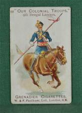 FAULKNER CIGARETTE CARD OUR COLONIAL TROOPS NO 88 9TH BENGAL LANCERS  (C113)