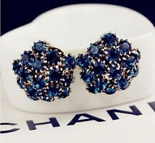Korea Dandelion Flower Shade Blue Swarovski Element Crystal Stud Earring box P14