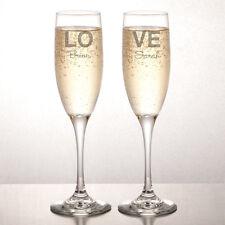 Personalizzata INCISA Champagne flauti (Set di 2) - Amore