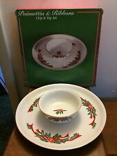 Tienshan POINSETTIA & RIBBONS chip & dip bowl & platter set mint in box