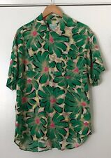 Jams World Large Hawaiian Shirt Green Floral Print 100% Rayon