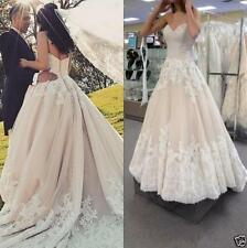 Champagne Lace Appliques Wedding Dress Bridal Gown Custom Size 6-22++++