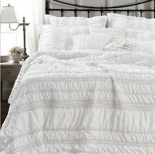 TIANA WHITE RUCHED 3pc Full / Queen QUILT SET - CHIC COTTAGE RUFFLED SHABBY