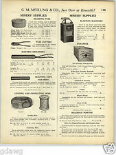 1925 PAPER AD Dupont Extra Red Cross Wood Wooden Box Dynamite Blasting Machine