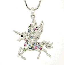 UNICORN W Swarovski Crystal Flying Pegasus Horse Gift Pendant Mythology Necklace