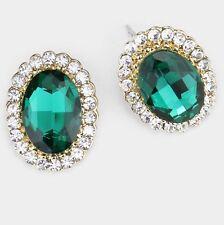 "0.75"" Green Emerald Gold Crystal Stud Earrings Pierced Post Pageant"