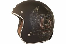 Torc Route 66 T50 Flat Black Lucky13 Wings Graphic 3/4 Open Face Helmet L