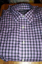 NWOT NAUTICA MENS DRESS SHIRT REGULAR FIT-LAVANDER/BLACK PLAID-MEDIUM