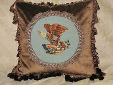 COOL PATRIOTIC ANTIQUE NEEDLEPOINT TAPESTRY PILLOW OF EAGLE