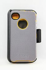 OtterBox Defender iPhone 4/4S Hard Case w/Holster Belt Clip Gray/Yellow USED