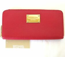 NEW MICHAEL KORS ITEMS RED GENUINE LEATHER ZIP-AROUND CONTINENTAL WALLET,CLUTCH