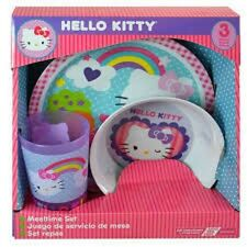 Sanrio Hello Kitty 3 pc Mealtime Dinnerware Set Plate,Bowl and Cup-Brand New!