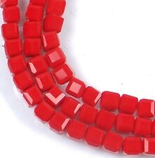 50 Czech Firepolish Glass Faceted Cube Beads 3mm - Opaque Red