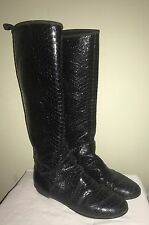 GUISEPPE ZANOTTI Pull On Knee High Black Snakeskin Riding Boots Italy 37 / US 7