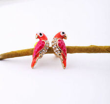 Lovely Little Pink Red Parrot Post Stud Earrings A9001