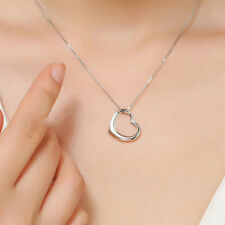 New Women Jewelry Silver Love Heart Pendant Necklace Valentine's Day Gift