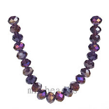 50pcs 8x6mm Purple AB Rondelle Faceted Crystal Glass Loose Charms Beads