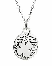 Four Leaf Clover Necklace - 950 Sterling Silver - Handmade Inspirational Charm