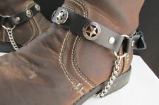 New Men Cowboy Star Pair Boot Chain Silver Black Leather Strap Shoe Bracelet