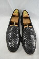 BRAGANO Italy black leather basket weave loafers size 11 EU 44