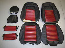 1987-1989 Ford Mustang GT Sport Leather Front Black w/Red Mach1 Seat Upholstery