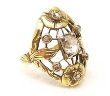 Antique 14K Gold Diamond Ring Sz 4.75 .65TCW Edwardian Old Mine Flower Edward