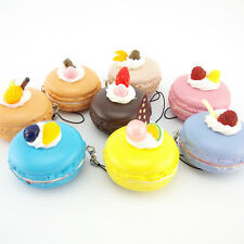 1 Cute Soft Fruit Macaroon Squishy Cell Phone Straps Simulation Food Charms Bag