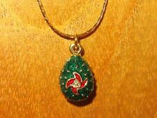 Russian FABERGE GREEN Gold ENAMEL Swarovsky Crystals EGG with Red flower pendant