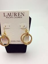 $34 Lauren Ralph Lauren Gold Tone Twisted Hoop Drop Earrings