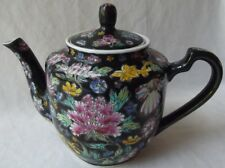 """BEAUTIFUL VINTAGE CHINESE HAND PAINTED PORCELAIN FLORAL TEAPOT 9"""" L"""
