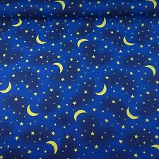 Midnight Blue Polycotton With Yellow Moon & Star Print Fabric (Per Metre)