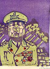 """Maccari Mino """"Sesso e Guerra"""" Xilografia a colori 1970-recensione Roberto Longhi"""