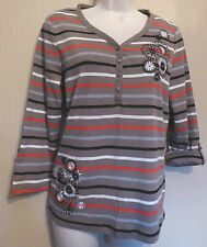 Maine UK12 EU40 US8 new striped and embroidered top with roll-back sleeves