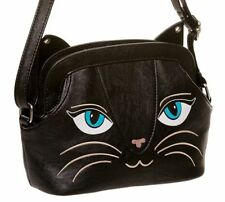 Banned Nero KITTY CAT Bag Handbag Purse ECOPELLE NUOVA Regalo Goth Emo biker